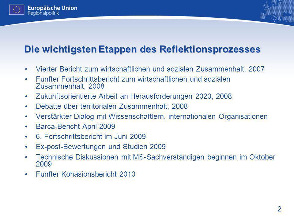 2 Die wichtigsten Etappen des Reflektionsprozesses Vierter Bericht zum wirtschaftlichen und sozialen Zusammenhalt, 2007 Fünfter Fortschrittsbericht zu