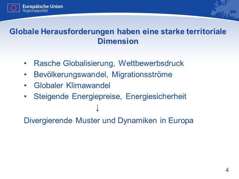 4 Globale Herausforderungen haben eine starke territoriale Dimension Rasche Globalisierung, Wettbewerbsdruck Bevölkerungswandel, Migrationsströme Glob