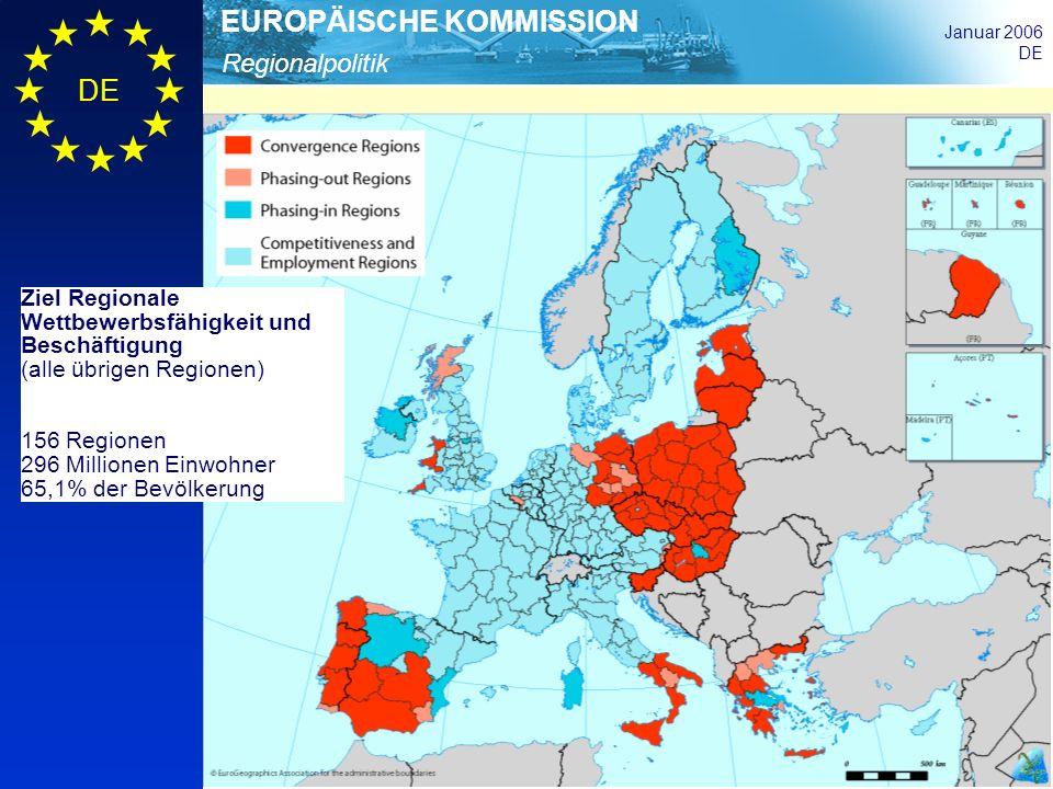 Regionalpolitik EUROPÄISCHE KOMMISSION Januar 2006 DE Ziel Regionale Wettbewerbsfähigkeit und Beschäftigung (alle übrigen Regionen) 156 Regionen 296 M
