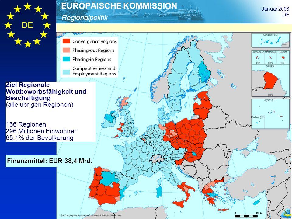 Regionalpolitik EUROPÄISCHE KOMMISSION Januar 2006 DE Finanzmittel: EUR 38,4 Mrd. Ziel Regionale Wettbewerbsfähigkeit und Beschäftigung (alle übrigen
