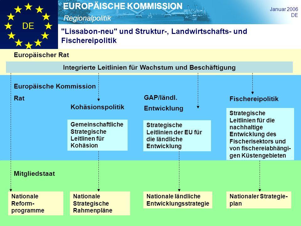 Regionalpolitik EUROPÄISCHE KOMMISSION Januar 2006 DE Integrierte Leitlinien für Wachstum und Beschäftigung Gemeinschaftliche Strategische Leitlinen f