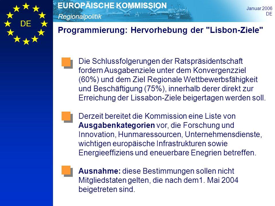 Regionalpolitik EUROPÄISCHE KOMMISSION Januar 2006 DE Programmierung: Hervorhebung der