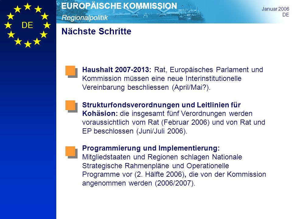 Regionalpolitik EUROPÄISCHE KOMMISSION Januar 2006 DE Nächste Schritte Haushalt 2007-2013: Rat, Europäisches Parlament und Kommission müssen eine neue