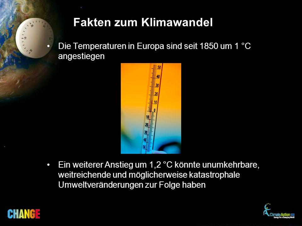 Fakten zum Klimawandel Die Temperaturen in Europa sind seit 1850 um 1 °C angestiegen Ein weiterer Anstieg um 1,2 °C könnte unumkehrbare, weitreichende