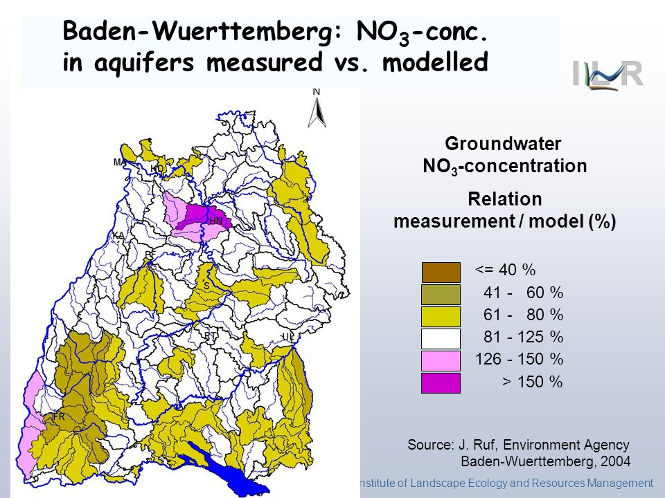 Institute of Landscape Ecology and Resources Management <= 40 % 41 - 60 % 61 - 80 % 81 - 125 % 126 - 150 % > 150 % Baden-Wuerttemberg: NO 3 -conc. in