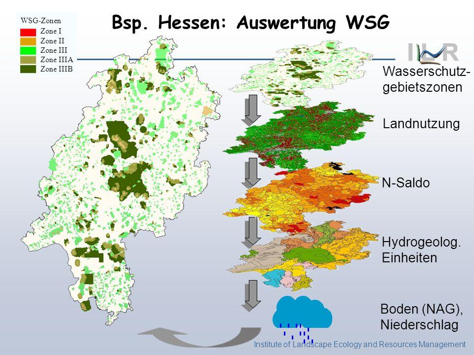 Institute of Landscape Ecology and Resources Management Wasserschutz- gebietszonen WSG-Zonen Zone I Zone II Zone III Zone IIIA Zone IIIB Landnutzung N