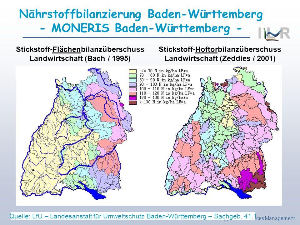 Institute of Landscape Ecology and Resources Management Stickstoff-Flächenbilanzüberschuss Landwirtschaft (Bach / 1995) Stickstoff-Hoftorbilanzübersch