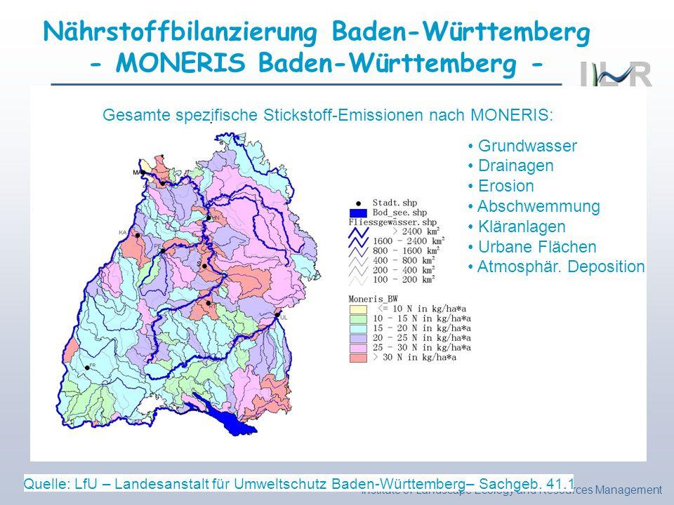 Institute of Landscape Ecology and Resources Management Nährstoffbilanzierung Baden-Württemberg - MONERIS Baden-Württemberg - Quelle: LfU – Landesanst