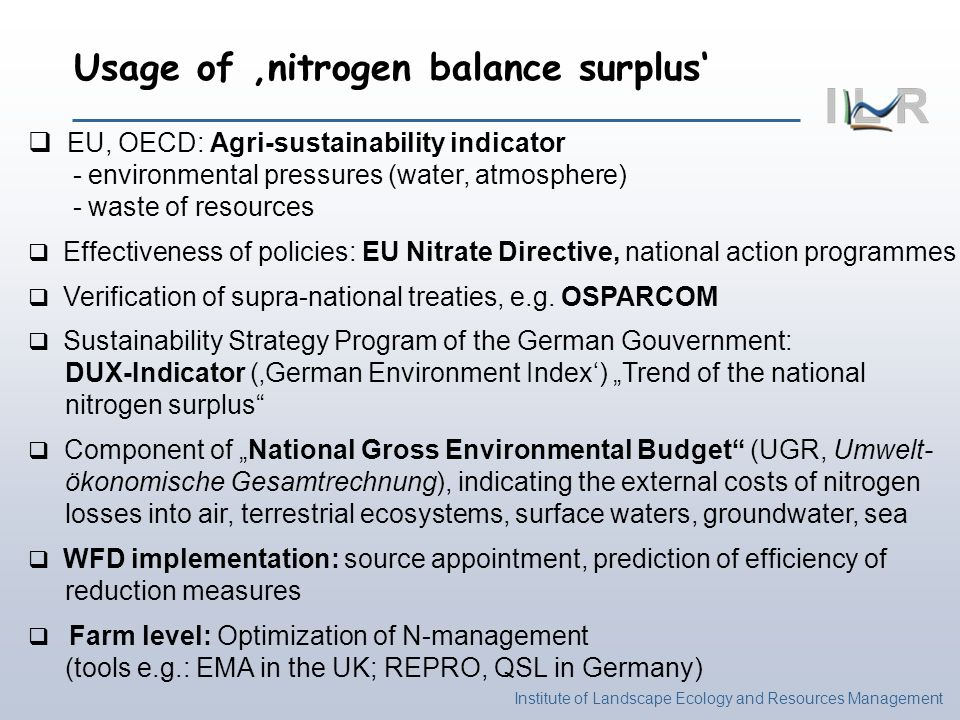 Institute of Landscape Ecology and Resources Management EU, OECD: Agri-sustainability indicator - environmental pressures (water, atmosphere) - waste