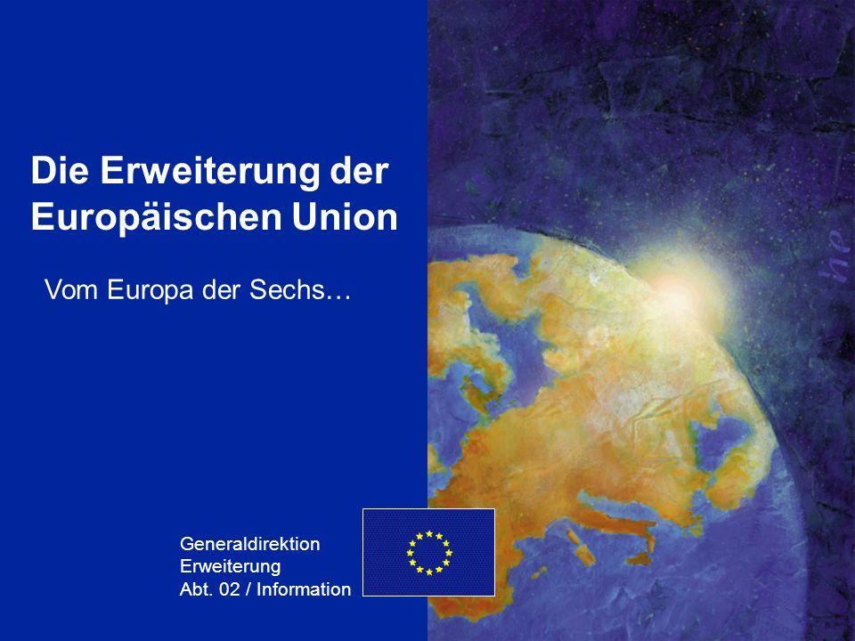 GD Erweiterung 1 Die Erweiterung der Europäischen Union Generaldirektion Erweiterung Abt. 02 / Information Vom Europa der Sechs…