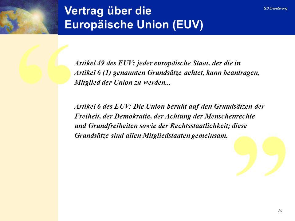 GD Erweiterung 10 Vertrag über die Europäische Union (EUV) Artikel 49 des EUV: jeder europäische Staat, der die in Artikel 6 (1) genannten Grundsätze