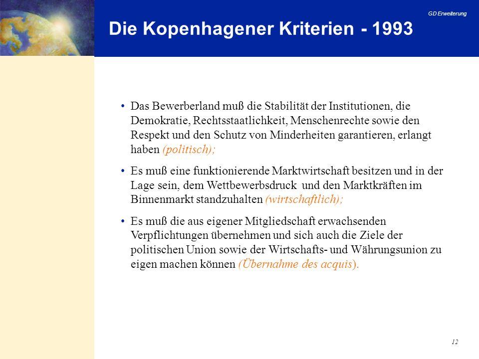 GD Erweiterung 12 Die Kopenhagener Kriterien - 1993 Das Bewerberland muß die Stabilität der Institutionen, die Demokratie, Rechtsstaatlichkeit, Mensch