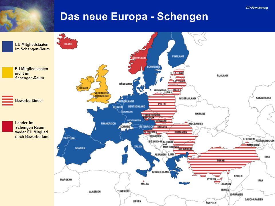 GD Erweiterung 18 Das neue Europa - Schengen Bewerberländer Länder im Schengen-Raum weder EU Mitglied noch Bewerberland EU Mitgliedstaaten nicht im Sc
