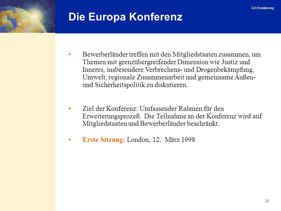 GD Erweiterung 20 Die Europa Konferenz Bewerberländer treffen mit den Mitgliedstaaten zusammen, um Themen mit grenzübergreifender Dimension wie Justiz