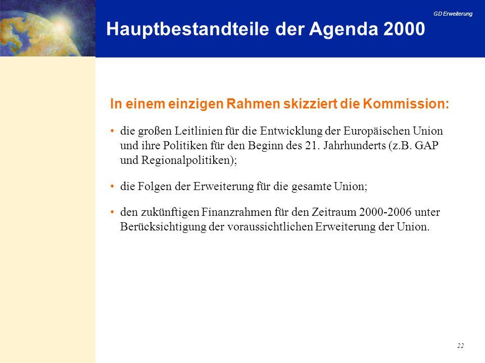 GD Erweiterung 22 Hauptbestandteile der Agenda 2000 In einem einzigen Rahmen skizziert die Kommission: die großen Leitlinien für die Entwicklung der E