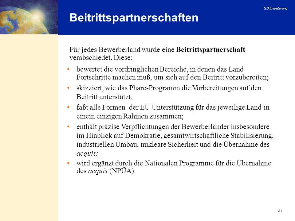 GD Erweiterung 24 Beitrittspartnerschaften bewertet die vordringlichen Bereiche, in denen das Land Fortschritte machen muß, um sich auf den Beitritt v