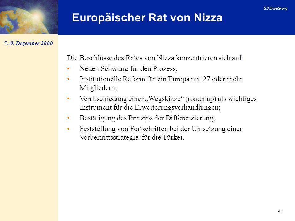 GD Erweiterung 27 Europäischer Rat von Nizza Die Beschlüsse des Rates von Nizza konzentrieren sich auf: Neuen Schwung für den Prozess; Institutionelle