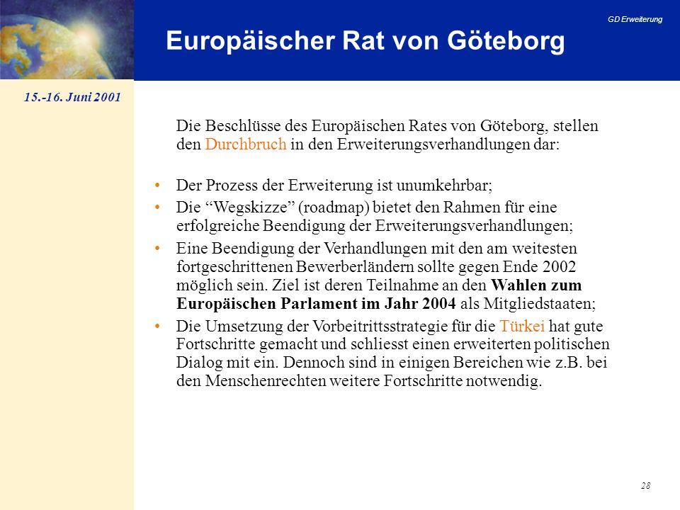 GD Erweiterung 28 Europäischer Rat von Göteborg Die Beschlüsse des Europäischen Rates von Göteborg, stellen den Durchbruch in den Erweiterungsverhandl