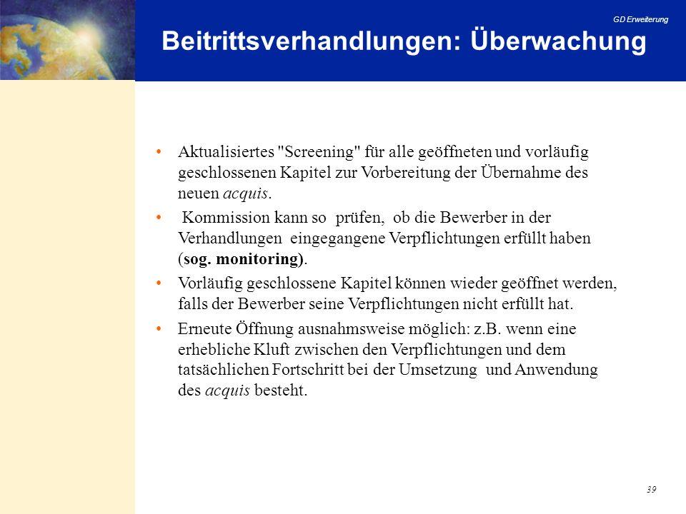 GD Erweiterung 39 Beitrittsverhandlungen: Überwachung Aktualisiertes
