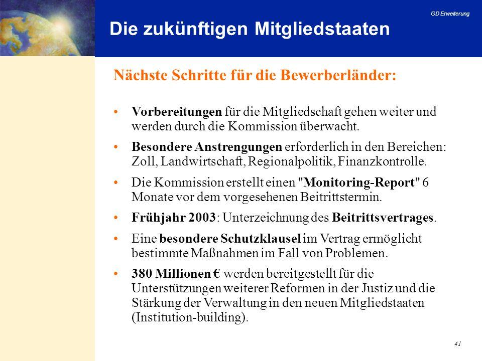 GD Erweiterung 41 Die zukünftigen Mitgliedstaaten Nächste Schritte für die Bewerberländer: Vorbereitungen für die Mitgliedschaft gehen weiter und werd