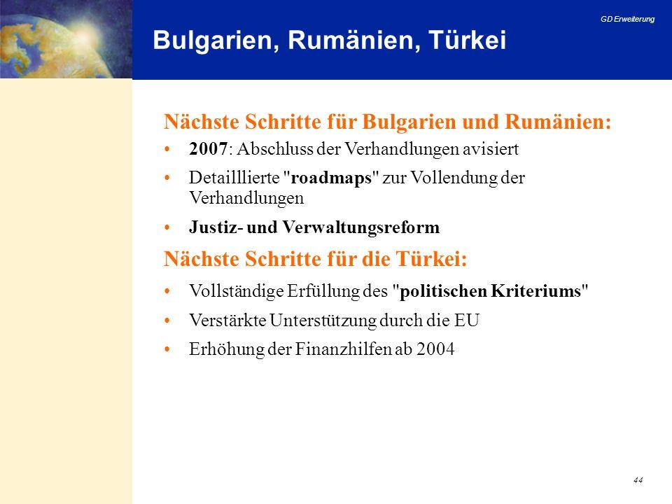 GD Erweiterung 44 Bulgarien, Rumänien, Türkei Nächste Schritte für Bulgarien und Rumänien: 2007: Abschluss der Verhandlungen avisiert Detailllierte