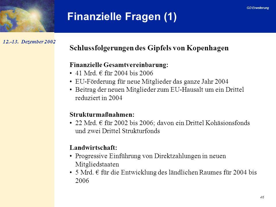 GD Erweiterung 46 Finanzielle Fragen (1) 12.-13. Dezember 2002 Schlussfolgerungen des Gipfels von Kopenhagen Finanzielle Gesamtvereinbarung: 41 Mrd. f
