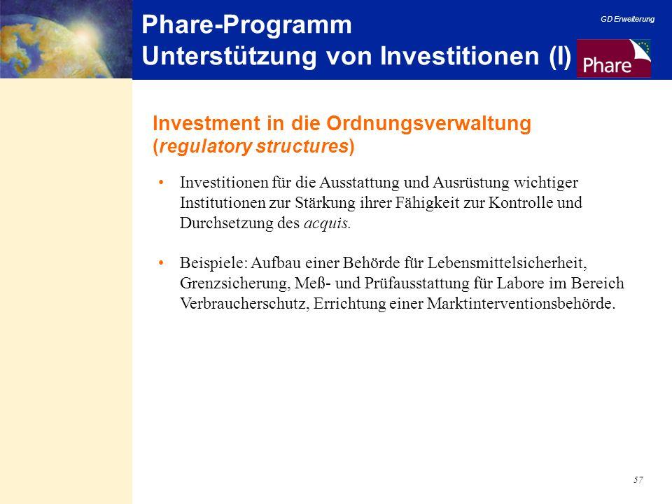 GD Erweiterung 57 Phare-Programm Unterstützung von Investitionen (I) Investitionen für die Ausstattung und Ausrüstung wichtiger Institutionen zur Stär