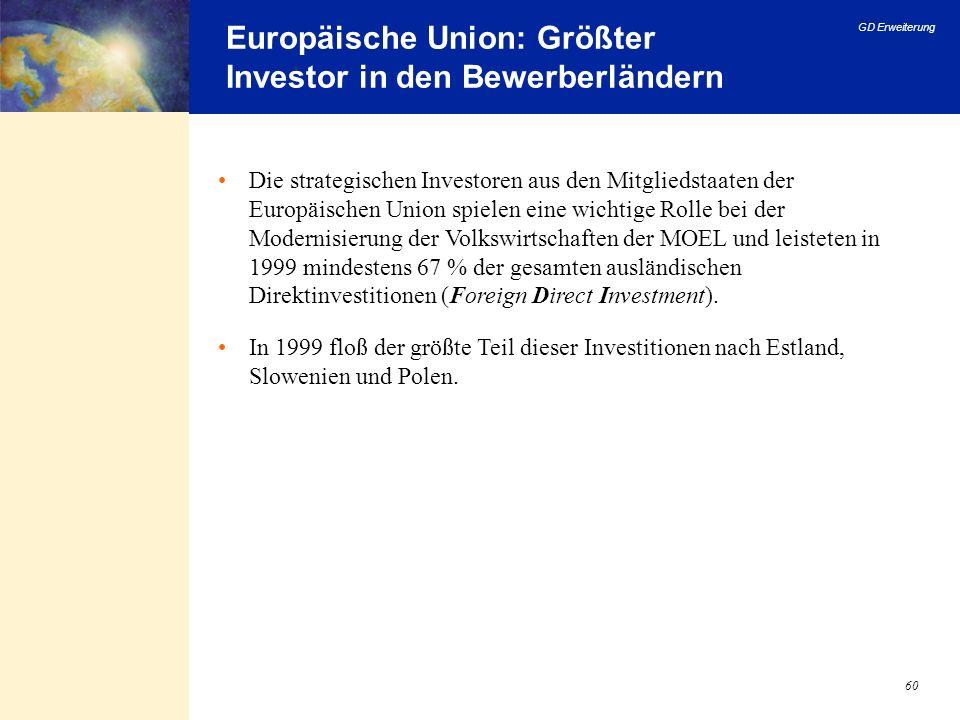 GD Erweiterung 60 Europäische Union: Größter Investor in den Bewerberländern Die strategischen Investoren aus den Mitgliedstaaten der Europäischen Uni