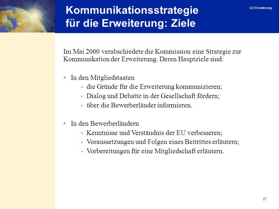 GD Erweiterung 67 Kommunikationsstrategie für die Erweiterung: Ziele Im Mai 2000 verabschiedete die Kommission eine Strategie zur Kommunikation der Er