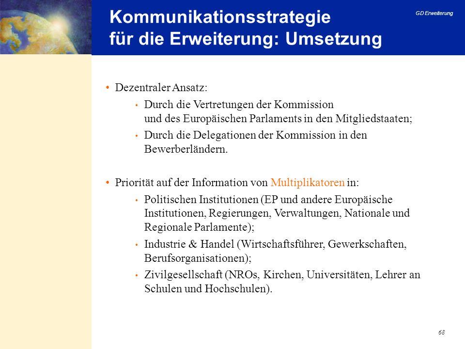 GD Erweiterung 68 Kommunikationsstrategie für die Erweiterung: Umsetzung Dezentraler Ansatz: Durch die Vertretungen der Kommission und des Europäische