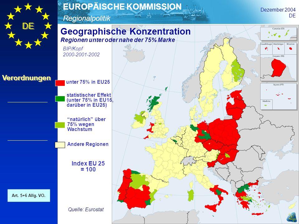 Regionalpolitik EUROPÄISCHE KOMMISSION Dezember 2004 DE Verordnungen unter 75% in EU25 statistischer Effekt (unter 75% in EU15, darüber in EU25) natür