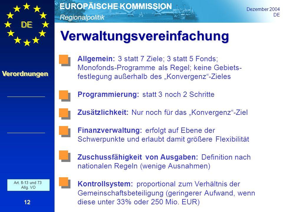 Regionalpolitik EUROPÄISCHE KOMMISSION Dezember 2004 DE Verordnungen 12 Verwaltungsvereinfachung Art. 8-13 und 73 Allg. VO Allgemein: 3 statt 7 Ziele;