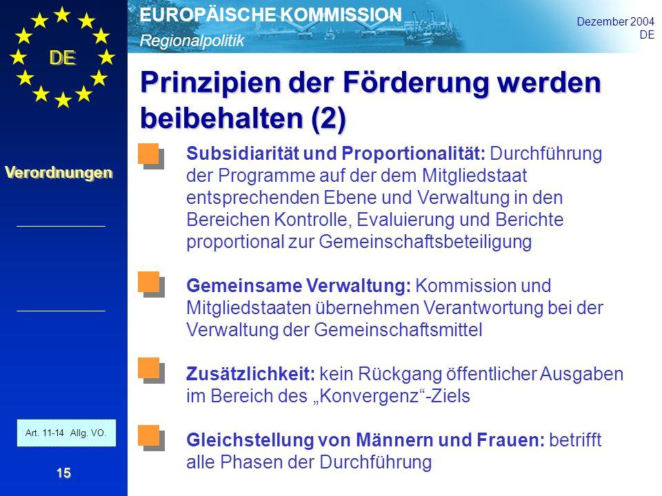 Regionalpolitik EUROPÄISCHE KOMMISSION Dezember 2004 DE Verordnungen 15 Prinzipien der Förderung werden beibehalten (2) Art. 11 - 14 Allg. VO. Subsidi