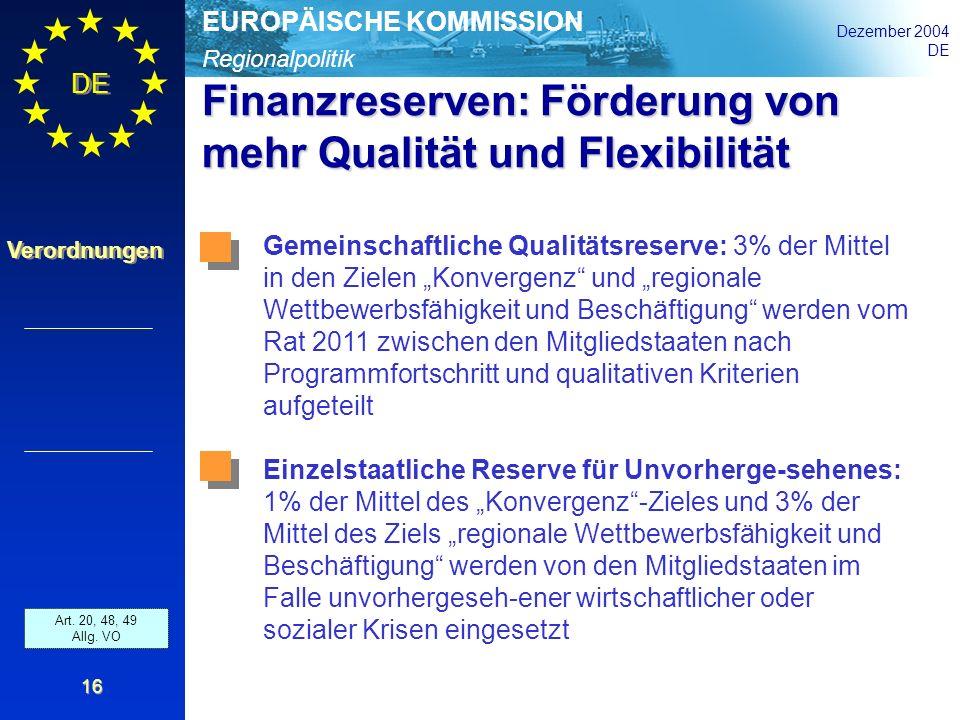 Regionalpolitik EUROPÄISCHE KOMMISSION Dezember 2004 DE Verordnungen 16 Finanzreserven: Förderung von mehr Qualität und Flexibilität Art. 35 and 36 Al
