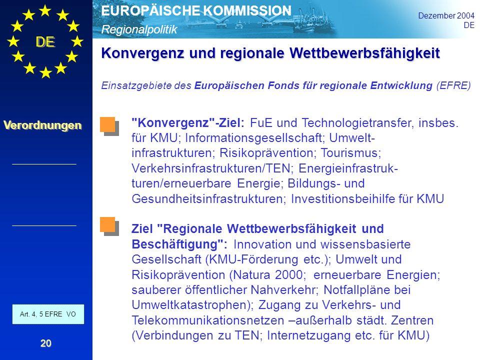 Regionalpolitik EUROPÄISCHE KOMMISSION Dezember 2004 DE Verordnungen 20 Konvergenz und regionale Wettbewerbsfähigkeit Einsatzgebiete des Europäischen