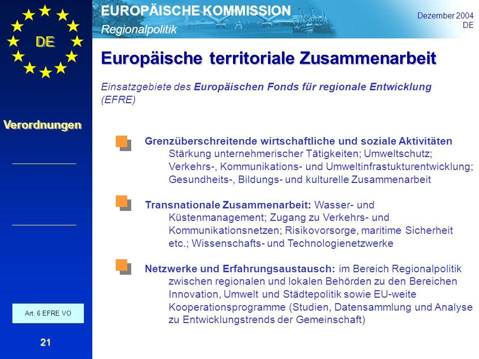 Regionalpolitik EUROPÄISCHE KOMMISSION Dezember 2004 DE Verordnungen 21 Grenzüberschreitende wirtschaftliche und soziale Aktivitäten Stärkung unterneh