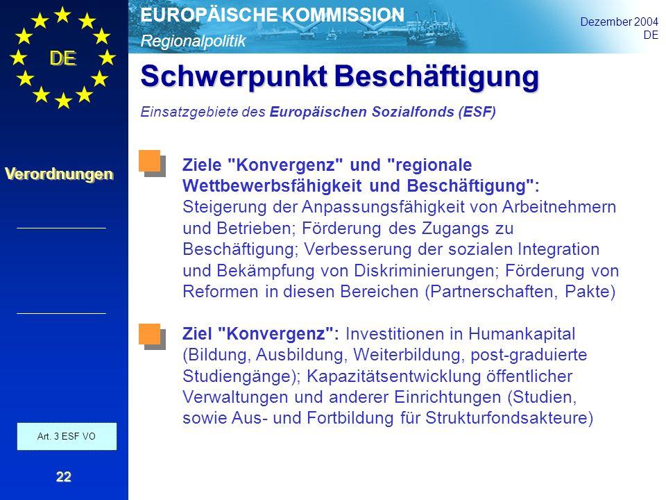 Regionalpolitik EUROPÄISCHE KOMMISSION Dezember 2004 DE Verordnungen 22 Schwerpunkt Beschäftigung Einsatzgebiete des Europäischen Sozialfonds (ESF) Ar