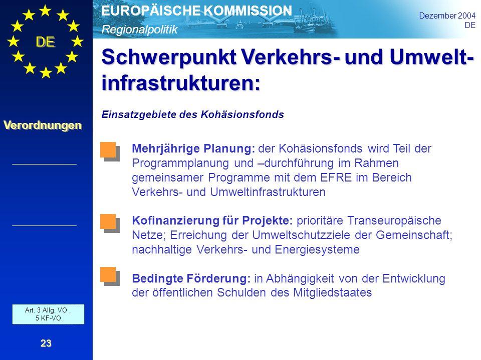 Regionalpolitik EUROPÄISCHE KOMMISSION Dezember 2004 DE Verordnungen 23 Schwerpunkt Verkehrs- und Umwelt- infrastrukturen: Einsatzgebiete des Kohäsion