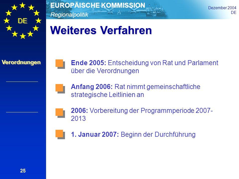 Regionalpolitik EUROPÄISCHE KOMMISSION Dezember 2004 DE Verordnungen 25 Weiteres Verfahren Ende 2005: Entscheidung von Rat und Parlament über die Vero