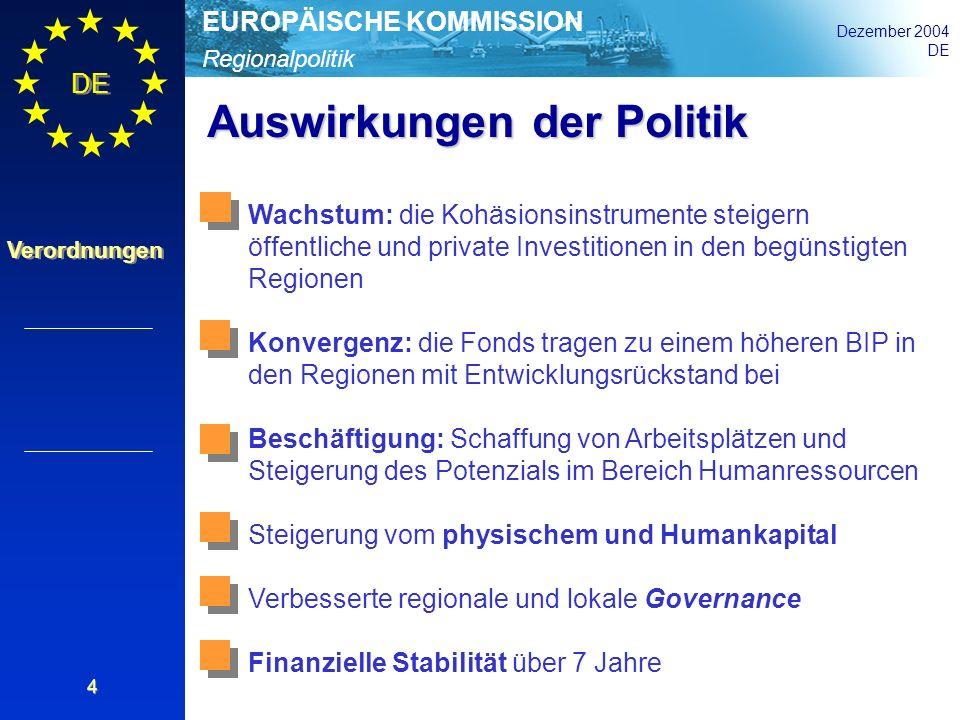 Regionalpolitik EUROPÄISCHE KOMMISSION Dezember 2004 DE Verordnungen 4 Auswirkungen der Politik Wachstum: die Kohäsionsinstrumente steigern öffentlich