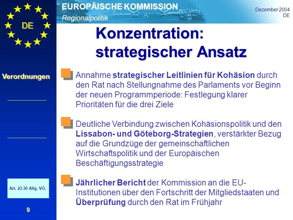 Regionalpolitik EUROPÄISCHE KOMMISSION Dezember 2004 DE Verordnungen 9 Konzentration: strategischer Ansatz Art. 23-30 Allg. VO. Annahme strategischer