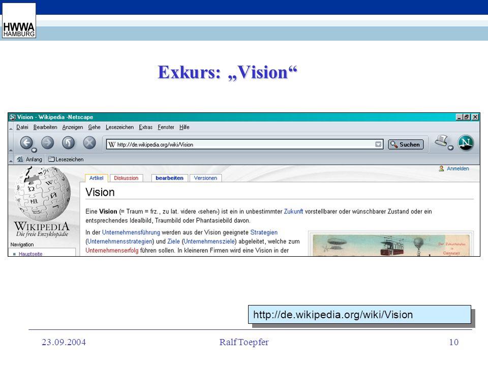 23.09.2004Ralf Toepfer9 IV. Vision und Anspruch b.) Anspruch Förderung des interdisziplinären wissenschaftlichen Arbeitens durch die Zusammenführung u