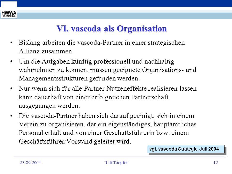 23.09.2004Ralf Toepfer11 V. Es gibt viel zu tun Über nichts sind sich die vascoda-Partner so einig wie darüber,...erst am Anfang eines sicher noch dor