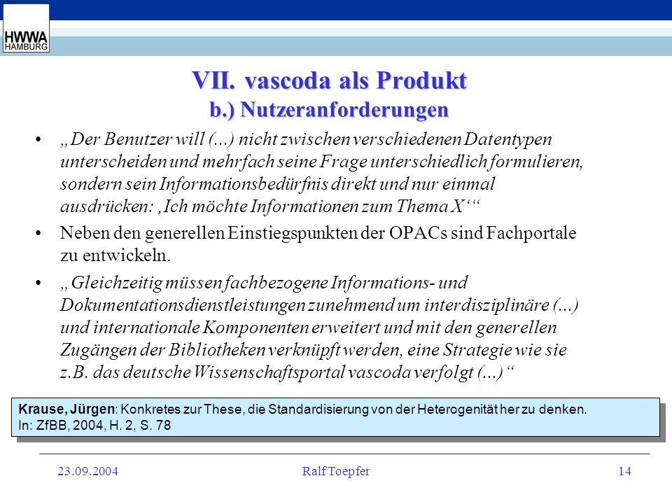 23.09.2004Ralf Toepfer13 VII. vascoda als Produkt a.) Interoperabilität Der Nutzen für die potentiellen Kundinnen und Kunden liegt in der integrierten