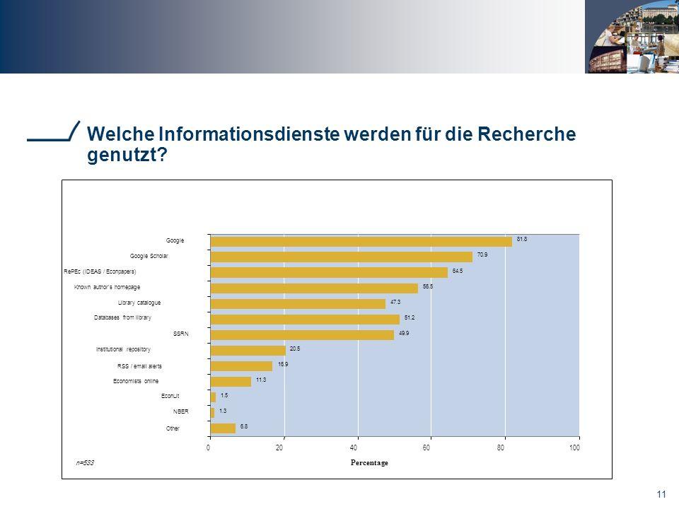 11 Welche Informationsdienste werden für die Recherche genutzt.