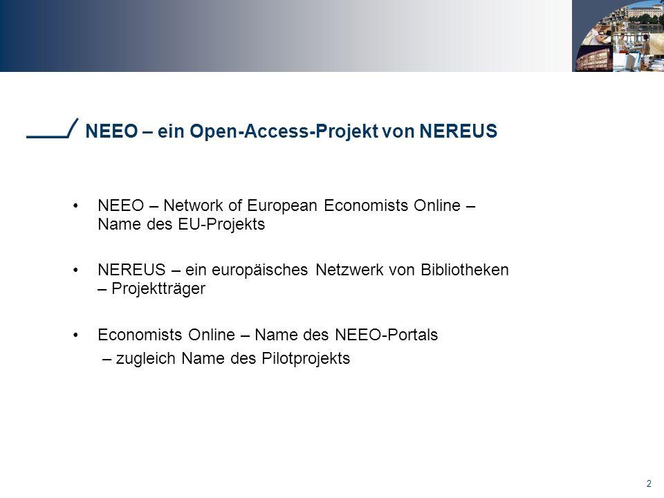 13 Ergebnisse Funktionalitäten des NEEO Portals Link zum frei verfügbaren Volltext wird am wichtigsten beurteilt ebenfalls wichtig: Relevance Ranking, Gruppierung von Suchergebnissen, Link zum Pay-per-view, Nutzungsstatistiken, RSS-feeds Mehrsprachigkeit hat keine wichtige Bedeutung