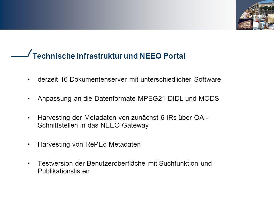 Technische Infrastruktur und NEEO Portal derzeit 16 Dokumentenserver mit unterschiedlicher Software Anpassung an die Datenformate MPEG21-DIDL und MODS Harvesting der Metadaten von zunächst 6 IRs über OAI- Schnittstellen in das NEEO Gateway Harvesting von RePEc-Metadaten Testversion der Benutzeroberfläche mit Suchfunktion und Publikationslisten
