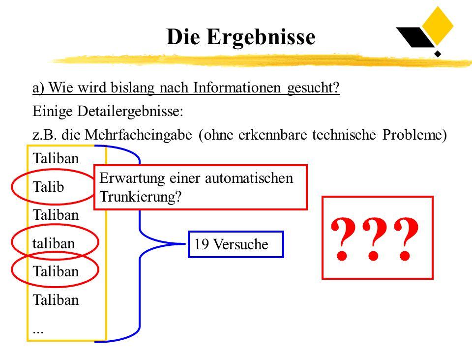 Die Ergebnisse a) Wie wird bislang nach Informationen gesucht? Einige Detailergebnisse: z.B. die Mehrfacheingabe (ohne erkennbare technische Probleme)