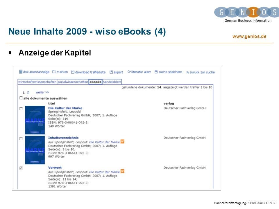 www.genios.de Fachreferententagung / 11.09.2008 / GP / 30 Neue Inhalte 2009 - wiso eBooks (4) Anzeige der Kapitel