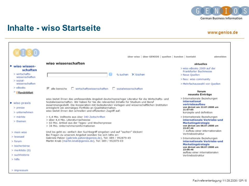 www.genios.de Fachreferententagung / 11.09.2008 / GP / 37 Neue Funktionen - literatur alert (1) Automatische Lieferung von aktuellen Artikeln per E-Mail.